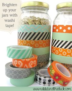 A quick + easy way to brighten up your glass jars - just add washi!  #washi #washitape #DIY