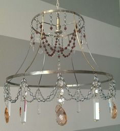 Wire Lampshade Frames Prepossessing Vintage Lampshade Frame Wrapped In Transparent Silverlined Seed Design Ideas