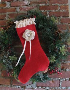 Red Burlap  Christmas Stocking with Rose by supplierofdreams, $26.00 #lacwe #handmade #Christmas