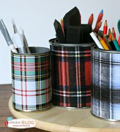 Tartan Plaid - Organizing Your Desk in Style :: Hometalk.  Search for plaid paper design online, print it, use double tape to adhere it to cans.