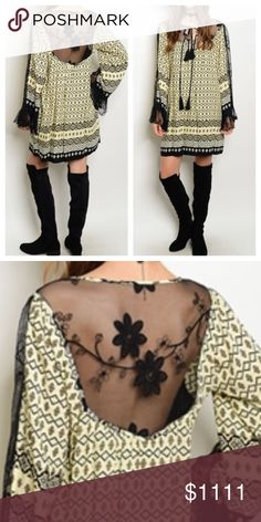 """🎉🎉HP 10/28🎉🎉New- Cream/Black Lace Top Back lace and part sleeves with lace with under lining. And side pockets. 100% Viscose. Medium- full length 34"""" underarm to underarm 19"""", sleeves 25"""". Large- full length 34.5"""", underarm to underarm 20"""", sleeves 25"""". Please ask questions if you are not sure Esley Dresses"""