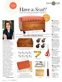 Rolling Storage Bench by Kelleypat