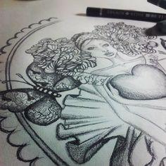#art #design #illustration #drawing #pencil #heart #girl #butterfly #fashionillustration instagram @rubianareolon