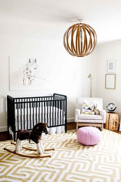 Contemporary Baby Bedroom With Modern Baby Girl Princess: 31 Stunning Modern Nursery Design Ideas Bright Nursery, Chic Nursery, Nursery Neutral, Nursery Room, Girl Nursery, Girl Room, Nursery Decor, Black Crib Nursery, Nursery Ideas