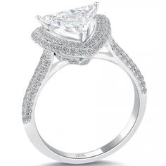 2.05 Carat D-VS1 Trillion Cut Diamond Engagement Ring 18k White Gold Pave Halo - Pave Halo Engagement Rings - Engagement - Lioridiamonds.com