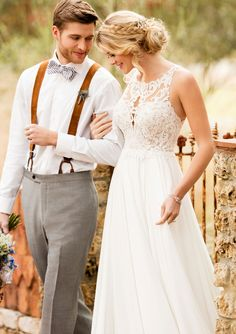 Essense of Australia romantic lace wedding gown