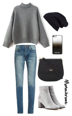 """""""Monochrome"""" by tiffanybertharia-fanbert on Polyvore featuring Yves Saint Laurent, Kate Spade, MICHAEL Michael Kors, Halogen and Gianvito Rossi"""