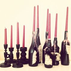 painted wine bottle candle holders | More Haunted House Party photos at http://www.skimbacolifestyle.com/2013/10/haunted-house-halloween-party-photos.html