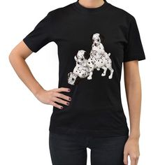 Dalmatian+puppies+1+Womens'+T-shirt+(Black)+Women's+T-Shirt+(Black) Dalmatian Puppies, High Quality T Shirts, Tool Design, Creatures, T Shirts For Women, Cotton, Mens Tops, Black, Style