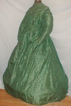 Civil War Era 1860's Green printed Silk Maternity Dress