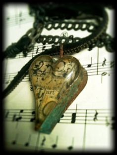 Chunky Industrial heart with vintage collage. lisasouersdesigns...