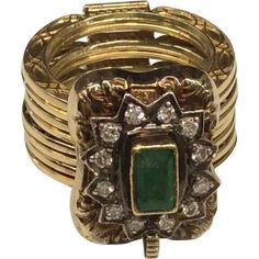 14K Emerald Diamond Convertible Ring/Bracelet