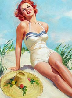 This charming redheaded sunbathing gal reminds me a little of myself. Oh, and you too, Roob!