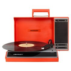 The Crosley Spinnerette Portable Turntable In Red Spins All Your Favorite  Tunes. Old Fashioned Record Player Features A USB Jack And Portable Audio  Ready ...