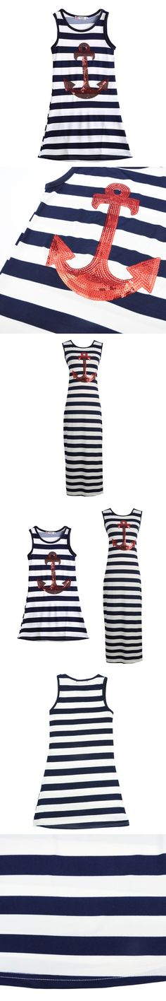 Fashion Dresses Sleeveless Mother girl Family fitted cotton dress kids clothes Striped Dress YTUB0