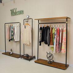Xin XIEFA pie de hierro tienda de ropa vintage suspensión de ropa del estante de madera estante de la ropa de rack on the wall