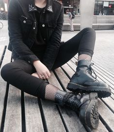 Black denim jacket with tee, black pants, fishnet leggings & black Dr Martens boots by lilithlovegood - #grunge #alternative #fashion