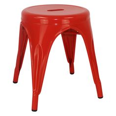 Stool, Metal, Red Powder Coated
