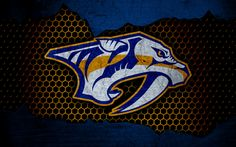 Download wallpapers Nashville Predators, 4k, logo, NHL, hockey, Western Conference, USA, grunge, metal texture, PredsNHL, Central Division