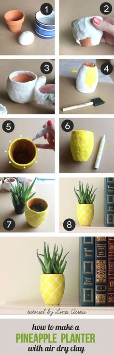 Try These Best DIY Projects For Your Home Decoration DIY Succulent Pineapple Planter. Turn a regular terra cotta pot into the cutes and fun pineapple planter with air dry clay. Perfect for your desk, or make as a gift for your friends and coworkers! Cute Diy Projects, Fun Crafts, Craft Projects, Diy And Crafts, Suculentas Diy, Art Diy, Creation Deco, Ideias Diy, Crafty Craft