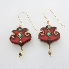Palm motif red wine earrings by sassonorly on Etsy, $90.00