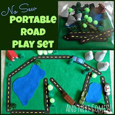 No sew portable road play set busy bag! So awesome for traveling! Brecken and Tristan would LOVE and we know several other little boys who would love one for Christmas ;)