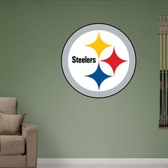 Pittsburgh Steelers Logo REAL.BIG. Fathead – Peel & Stick Wall Graphic   Pittsburgh Steelers Wall Decal   Sports Home Decor   Football Bedroom/Man Cave/Nursery