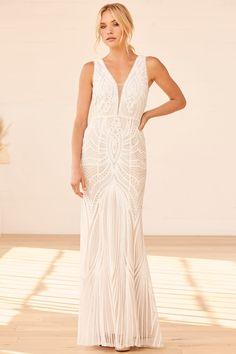 White Wedding Dresses, Designer Wedding Dresses, Bridal Dresses, Formal Dresses, Cheap Wedding Dress, Cheap Dresses, White Sequin Dress, Sequin Maxi, Sequins
