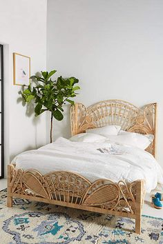 40 Modern Bed Frame Design Ideas Made Of Rattan Rattan Furniture, Bedroom Furniture, Home Furniture, Bedroom Decor, Girls Bedroom, Girl Rooms, Furniture Stores, Cheap Furniture, Bedrooms