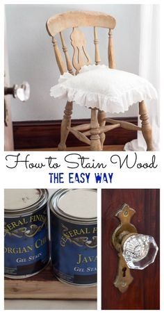 How to Stain Wood The Easy Way Easy Wood Projects, Diy Furniture Projects, Chalk Paint Furniture, Furniture Makeover, Popular Woodworking, Woodworking Projects, Woodworking Plans, Distressed Furniture, Weathered Wood