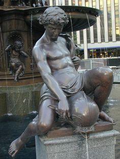 US Art Deco: Figure from the Tyler Davidson Fountain (Genius of Water) in Cincinnati.
