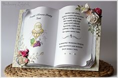 Pamiątkowa księga komunijna Tattered Lace Cards, Card Book, Sweet Stories, Glitter Girl, First Holy Communion, Open Book, Paper Folding, Old Books, Handmade Books
