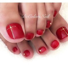Red - gold toe nail art red nails в 2019 г. Gold Toe Nails, Pretty Toe Nails, Cute Toe Nails, Feet Nails, Pedicure Colors, Pedicure Designs, Pedicure Nail Art, Red Pedicure, French Pedicure