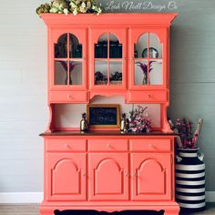 Bring a pop of color into your home with Chalk Mineral Paint! This artist used Flamingo and Cotton for a fabulous and fun DIY project! Orange Painted Furniture, Colorful Furniture, Modern Furniture, Vintage Furniture, Home Decor Styles, Diy Home Decor, Painted Hutch, Paint Companies, Dixie Belle Paint