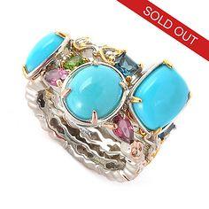 135-967 - Gems en Vogue Set of Three Sleeping Beauty Turquoise & Gem Stack Band Rings