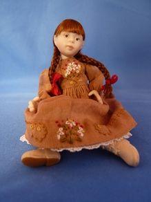 Red Plaits 14-jointed dollshouse doll  Jane Davies