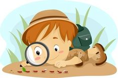 Clipart Boy Observing Ants With A Magnifying Glass Royalty Free Vector Illustration Kids Activities At Home, Camping Crafts For Kids, Free Vector Illustration, Children's Book Illustration, Drawing For Kids, Art For Kids, Art Jouet, Detective Theme, Clipart Boy