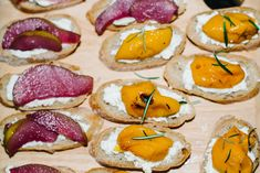 Cool Crostini (rosemary poached apricot + wine poached pear + cheese)