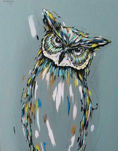 Owl Painting, Acrylic Painting on Canvas, Owl Spirit Guide, Animal Spirit Guide by SacredHeyokah on Etsy by Hercio Dias