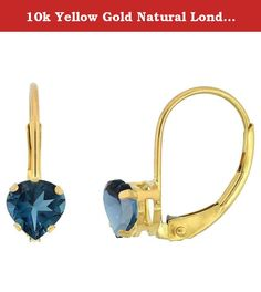 10k Yellow Gold Natural London Blue Topaz Leverback Earrings 5mm Heart Shape 1 ct, 9/16 inch. Simplicity of design has nothing to do with cost, and everything to do to bringing out and highlighting the natural beauty of things, and in this case a beautiful matched pair of genuine gemstones. To highlight your mood, match the color of your eyes or your outfit, or just simply to be your birthstones. These earrings are 10 karat gold. There are no earring backs to lose or fuss with, and there…