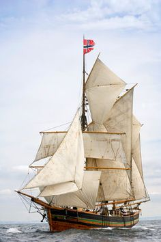 Norwegian topsail ketch 'Svanhild' under full sail at Port Rush for the first leg of the 2008 Liverpool Tall Ships Race.