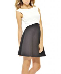 Take a look at the Black & White Sleeveless Skater Dress on #zulily today!