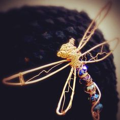 Dragonfly pin in wrapped copper sold
