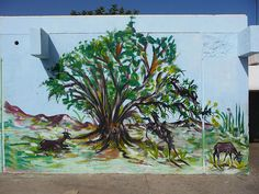 Mural: goats on argan tree -