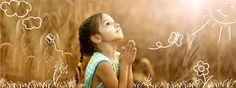 Spelta girl prays in wheat field