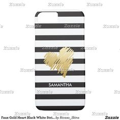 Faux Gold Heart Black White Striped Personalized iPhone 7 Case from Ricaso
