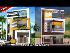50 modern 2 floor elevation designs with house details House Balcony Design, House Outer Design, 3 Storey House Design, Village House Design, Duplex House Design, Unique House Design, House Front Design, Narrow House Designs, Modern Exterior House Designs