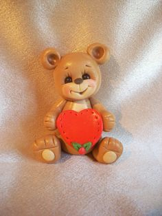 teddy bear personalized Christmas ornament cake topper animal clay children keepsake gift
