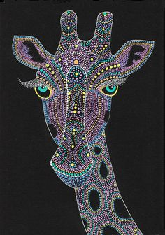 Giraffe Painting - Face Of The Giraffe by Nobuaki Suzuki Giraffe Painting, Giraffe Art, Dot Art Painting, Rock Painting Designs, Mandala Painting, Painting Patterns, Elephant Face, Mandala Canvas, Mandala Dots