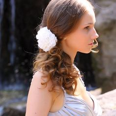 Peony Flower Clip  Bridal Flower Hair Clip  White OR by Florentes, $28.00